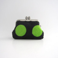 Frame Coin Purse- mini jewelry case with ring pillow- green dots on black