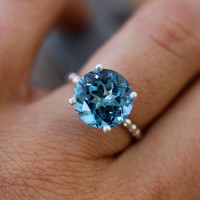 London Blue Topaz Solitaire in Tarnish Free Recycled Sterling Silver, Solitaire Cocktail Ring Made To Order