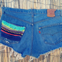 Vintage Denim High Waist Cut off Shorts (Size X-LARGE)