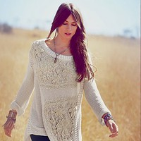 Free People FP New Romantics Reflections in Crochet Pullover