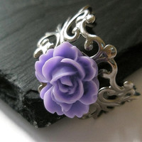 Lavender Rose filigree Antique Silver colour Flower adjustable ring Hand Made by Futti Tutti Bead candy