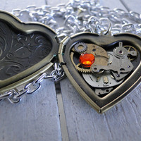 Heart of Time --Antique brass locket