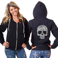 White Skull American Apparel Hoodie