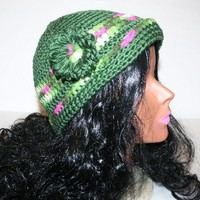 Olive Green Variegated Stripe Cap Flower Accents