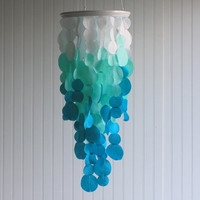Blue to White Fabric Ombre Chandelier