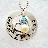 Hand Stamped Necklace - Personalized Jewelry - Silver - Birthstone - Freshwater Pearl - Heart