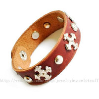 Jewelry bangle leather bracelet fashion bracelet punk rock bracelet men bracelet cross bracelet made of leather and metal cross sh-0000003