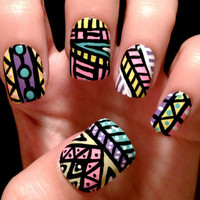 Aztec/tribal fake nails