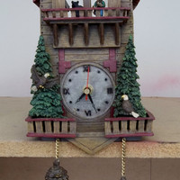 Vintage Cuckoo Clock Rustic Cabin Hunter Bear Eagles Wall Hanging Decor