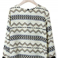 Zig Zag Pattern Chiffon Top - New Arrivals - Retro, Indie and Unique Fashion