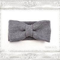 Knit Bow Headband Large Knitted Bow Ear Warmer Heather Gray