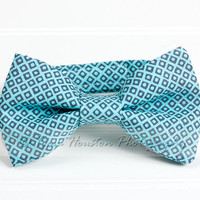 Boy&#x27;s Bow Tie, Newborn, Baby, Child- Aqua, Grey, Geometric, Toma&#x27;s Tutus and Things