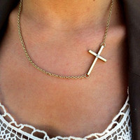 Offset Sideways Cross Necklace Gold Horizontal Cross with Rhinestone Charm Jewelry