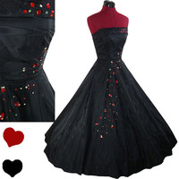Dress Vintage 50s Black TAFFETA Full Skirt Prom PARTY Dress XS Strapless Red Cocktail
