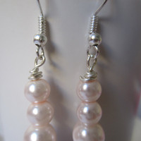Pink Glass Pearl Ball Earrings