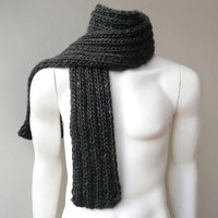 Mens scarf  Chunky Knit Scarf  Men / Unisex Dark Gray Handknit Accessory
