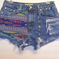 Denim Shorts Ikat Print  with Studs Sz 6