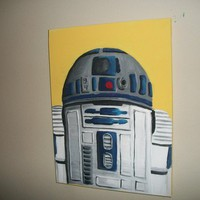 STAR WARS Art R2D2 Acrylic Painting 16x12 by goblinhut on Etsy