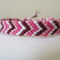 Chevron Friendship Bracelet - Pink and Maroon