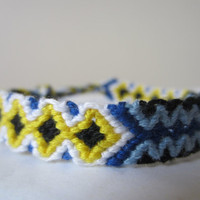 Braided Friendship Bracelet - Blue White Yellow