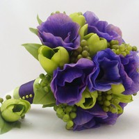 Purple & Green Silk Flower Bridal Bouquet and Groom's Boutonniere