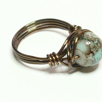 Aqua Brown Vintage Bronze Wire Wrapped Ring