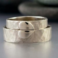 Solid Gold Heart Wedding Rings - 4mm and 6mm wide rings in 14k White and Yellow Gold - Handmade Wedding Band Set