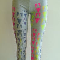 Neon Triangle Leggings on Grey