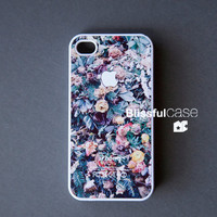 iphone 4 case - apple logo white on flower print