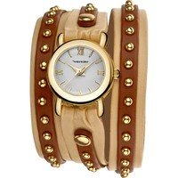 Vernier Ladies Fashion Two Tone PU Leather Triple Wrap Watch