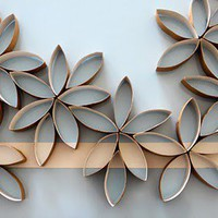 upcycle toilet paper rolls for bathroom wall art