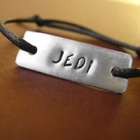 Star Wars Bracelet Jedi stamped slide knot by spiffingjewelry