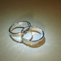 Hammered sterling silver ring weddings bands or ring set