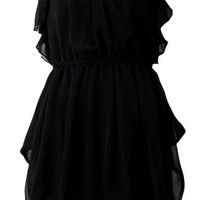 Shirred Waist Chiffon Dress Black - AX Paris