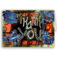 "A bright folk art ""Thank You"" Card with birds from Zazzle.com"