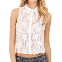 Ivory Lace Collared Crop Top