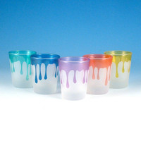 Shot Glasses - Dripping - Set of 5 - Custom Painted Glassware