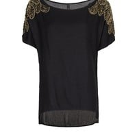 MANGO - NEW! - Beaded shoulders top