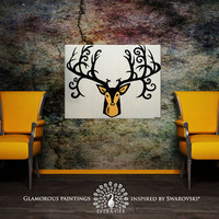 "ABUNDANCE deer head Swarovski-encrusted mustard yellow ochre faux taxidermy deer antler abstract painting 24''x32"" by Lydia Gee"