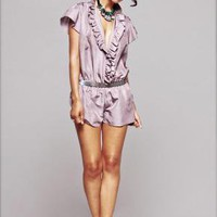 Chrissy Silk Ruffle front romper