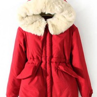 Pretty Hooded Long Sleeve Warm Coat Red $62.00