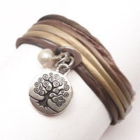 Silk Cord Wrap Bracelet with Tree of Life by charmeddesign1012