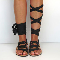 "Leather Sandals, handmade, Unique design, with satin jersey plisse scarf straps in black ""APHRODITE"" AS14 All sizes Available"