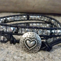 Crystal Silver Czech Glass, Beaded Leather Wrap Bracelet, Double Wrap Bracelet, Chan Luu Inspired