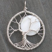 Moon Tree Sterling Silver and Mother of Pearl Pendant - Original Design by Ethora