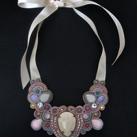 THE ONE soutache statement necklace in ivory, pastel pink, blue, green, lavender with pink rubies and Swarovski crystals