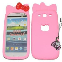Amazon.com: SAMSUNG GALAXY S3 i9300 LIGHT PINK HELLO KITTY POLKA DOT BOW SILICONE CASE + HELLO KITTY DUST PROTECTOR PLUG-IN CHARM *** COMBO DEALS *** by SNDPLACE: Cell Phones & Accessories
