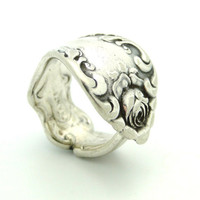 Beautiful Rose Silver Spoon Ring With A by BlackSparrowVintage