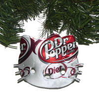 Recycled Diet Dr Pepper Soda Can Christmas Ornament Hello Kitty Ornament