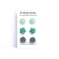 Stud earrings, teal stud earrings, mint green Stud earrings, gray Stud earrings,